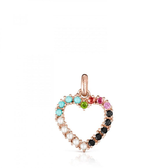 Tous Rose Gold Vermeil San Valentín heart Pendant with Gemstones 915304520