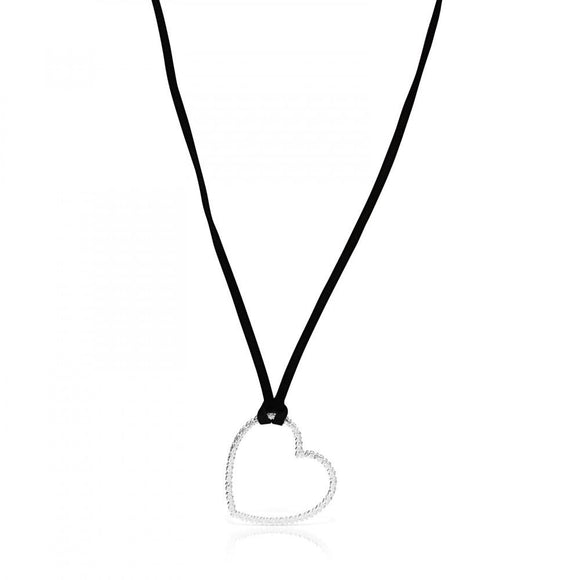 Tous Silver San Valentín heart Necklace with black Cord 915304570