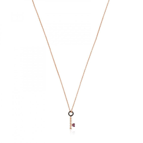 Tous Rose Gold Vermeil San Valentín key Necklace with Ruby and Spinel 915304610
