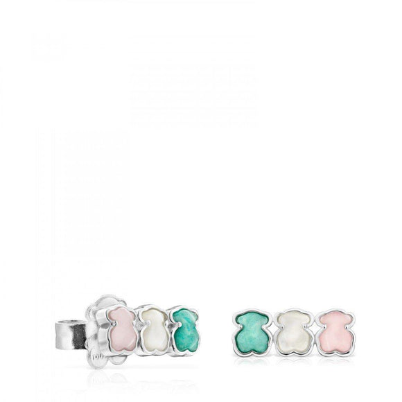 Tous Mini Silver Color Earrings with Gems 915433650