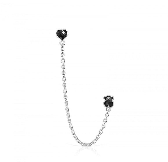Tous Silver with Onyx Mini Onix - Color Double Earring 918453510