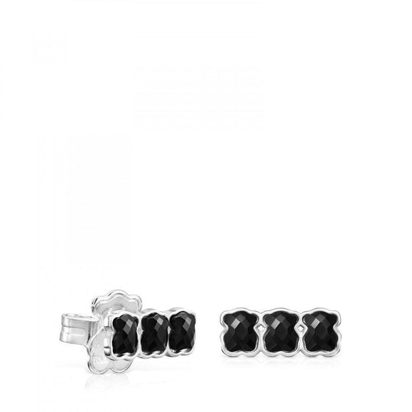Tous Mini Onix - Color Earrings in Silver with three Onyx bears 918453570