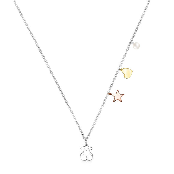 Tous Silver Sweet Dolls Necklace with Gold Vermeil, rose Gold Vermeil and Pearl 818022550