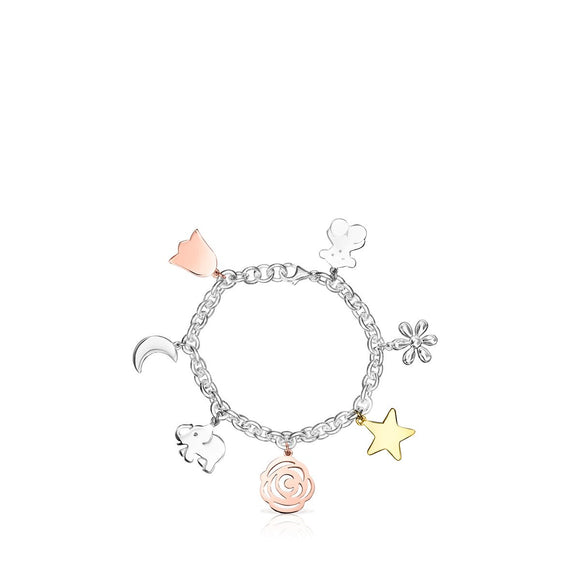 Tous Silver Sweet Dolls Bracelet with Gold Vermeil, rose Gold Vermeil and Dark Silver 818021530