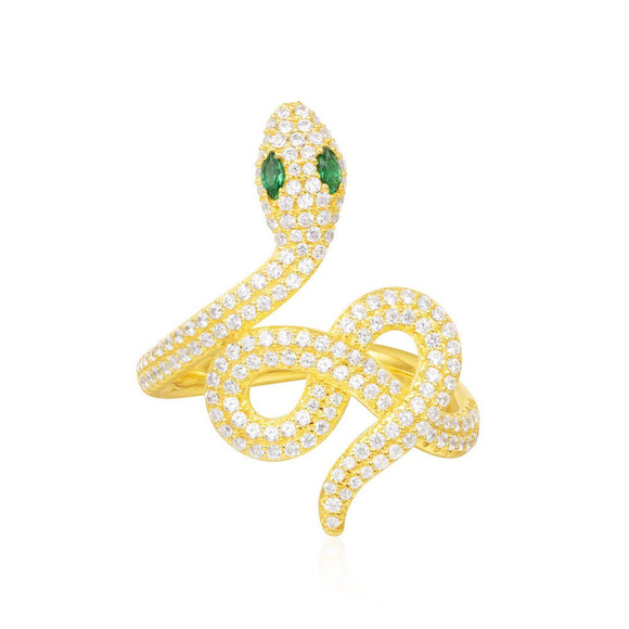 APM Yellow Silver Serpentine Statement Ring A15301XGY