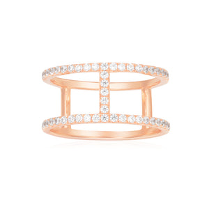 APM Double Line Paved Ring - Pink Silver R16876OX