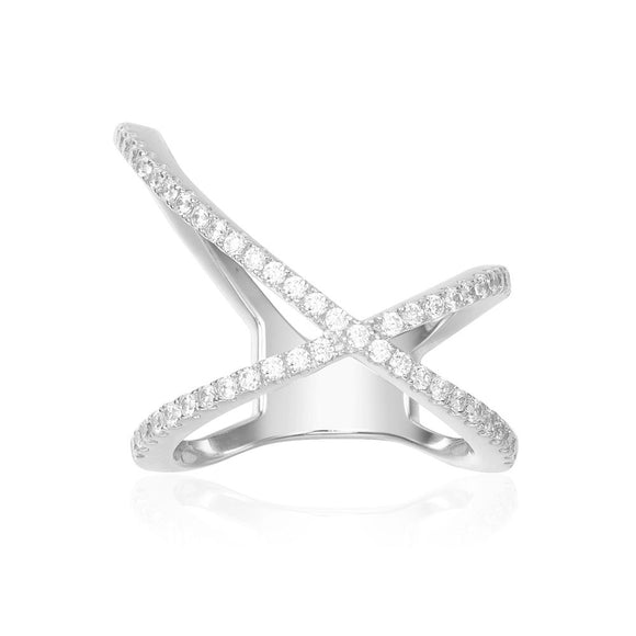 APM Paved X-Shape Ring - Silver A17031OX