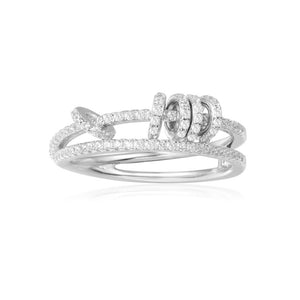 APM Double Ring With Sliding Hoops - Silver A17573OX