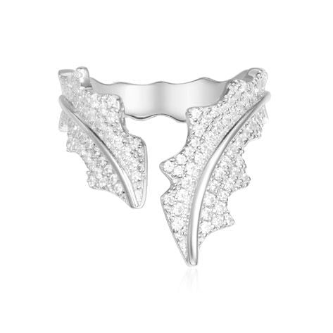 APM Leaf Open Ring - Silver A17694OX