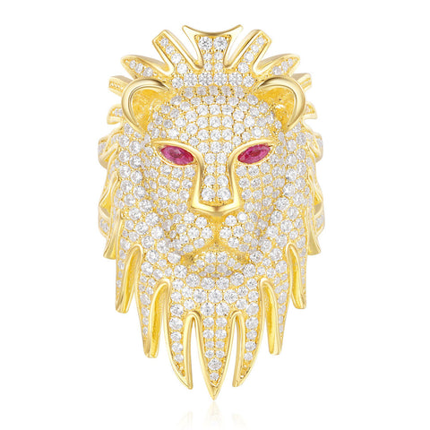 APM Yellow Silver Lioness Statement Ring With Synthetic Red Stone   A18506XKRY