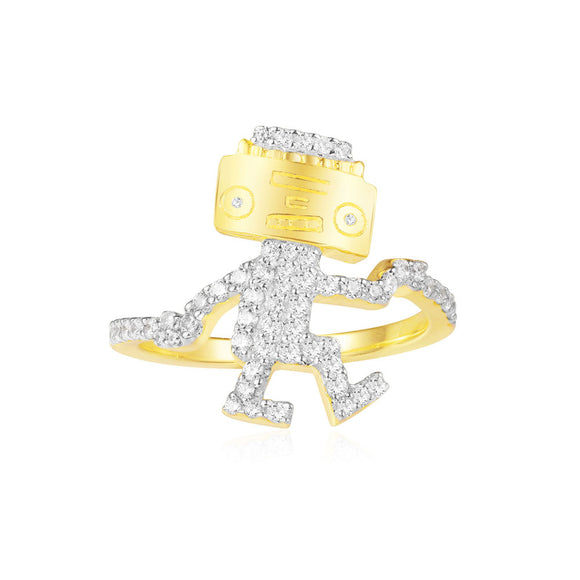 APM Dancing Robot Ring - Yellow Silver A18523OXY