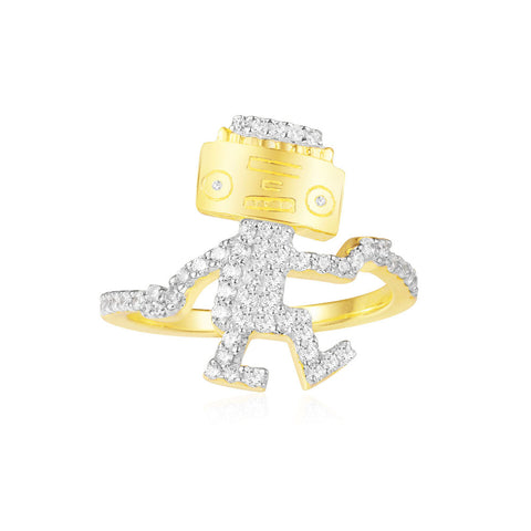 APM YELLOW SILVER DANCING ROBOT RING   A18523OXY