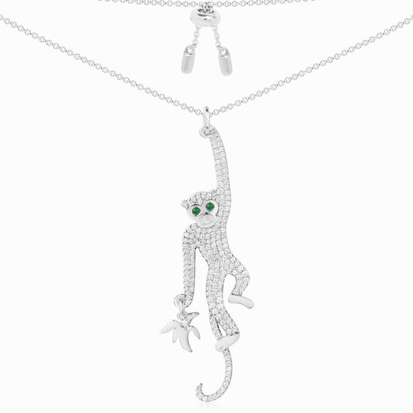 APM Monkey Silver Necklace AC3878XKG