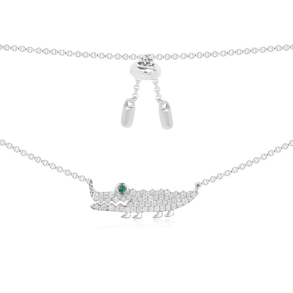 APM Silver Croco Necklace   AC3896KGX