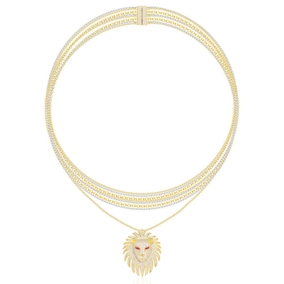 APM Yellow Silver Lioness necklace multi-chain necklace   AC3897XKRY