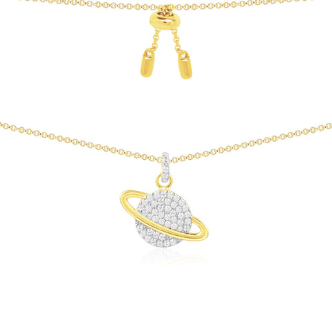 APM YELLOW SILVER PLANET NECKLACE   AC3917OXY