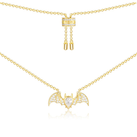 APM Yellow Silver Flying Bat Necklace   AC4011OXY