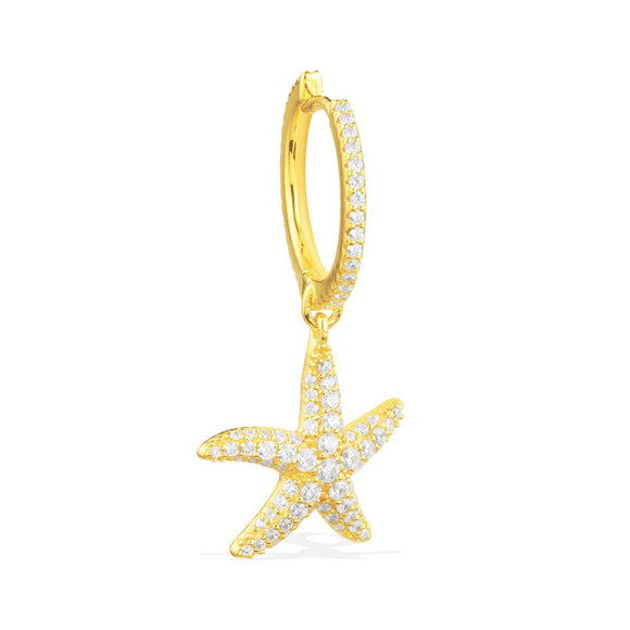APM Mono Yellow Silver Seastar Dropping Earring AE10068OXY