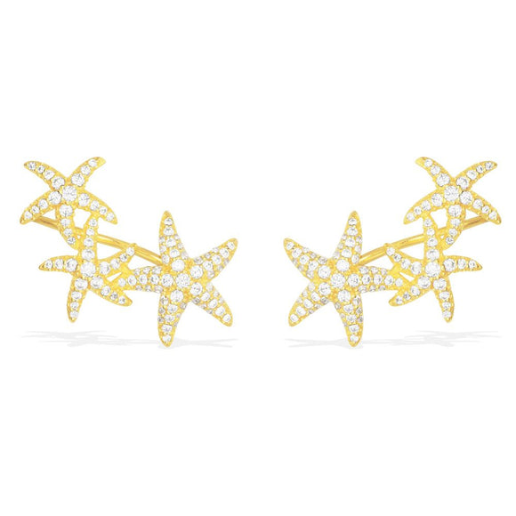 APM Yellow Silver Triple Seastars Earrings AE10069OXY