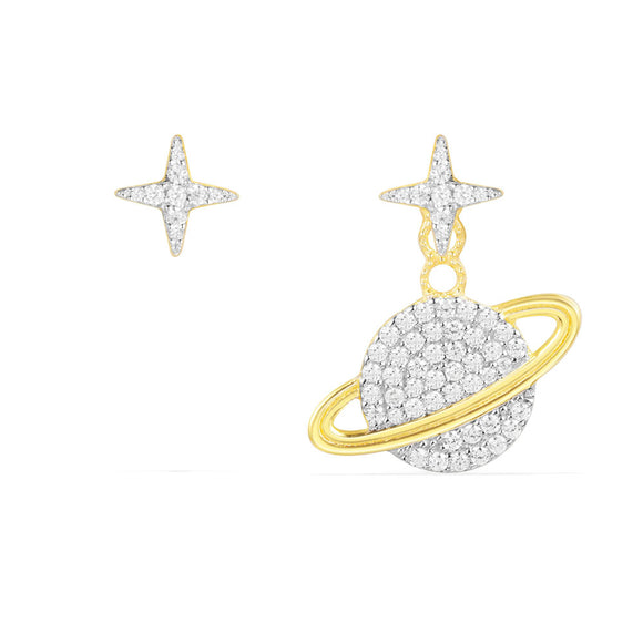 APM Asymmetric Planet Earring And Its Stud - Yellow Silver AE10559OXY