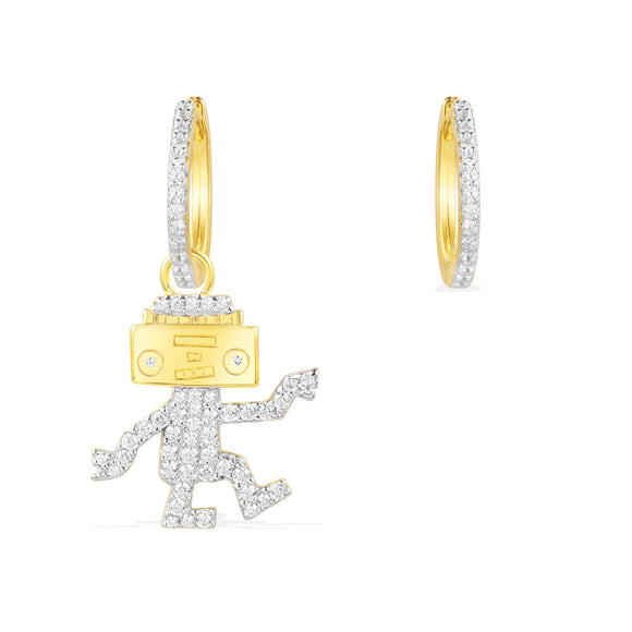 APM ASYMMETRIC YELLOW SILVER DANCING ROBOT EARRING SET   AE10560OXY