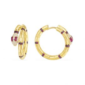 APM Yellow Silver Uraeus Hoop Earrings With Synthetic Red Stone   AE10570XKRY