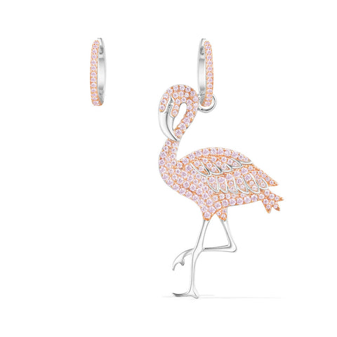 APM Silver Pink Flamingo Asymmetric Earrings   AE10582ORW