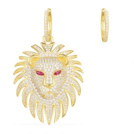 APM Yellow Silver Lion Statement Asymmetric Earrings With Synthetic Red Stone   AE10604XKRY