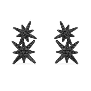 APM Double Meteorites Noires Silver Stud Earrings AE9784BZT