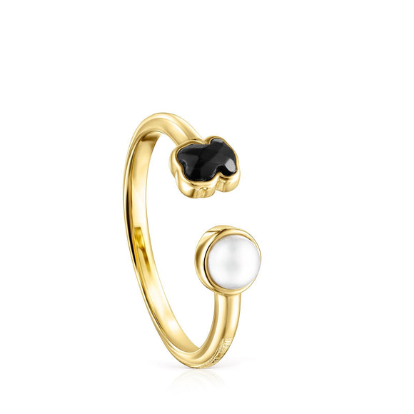 Tous Glory Silver Ring Vermeil with Onyx and Pearl 918595530