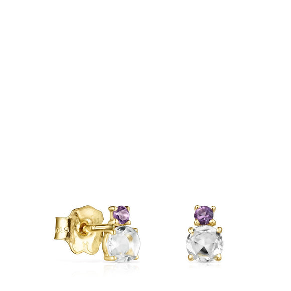 Tous Mini Ivette Earrings in Gold with Prasiolite and Amethyst 912193030