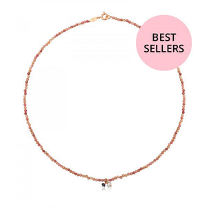 Tous Rose Vermeil Silver Camille Necklace with Iolite and Pearls 712162550