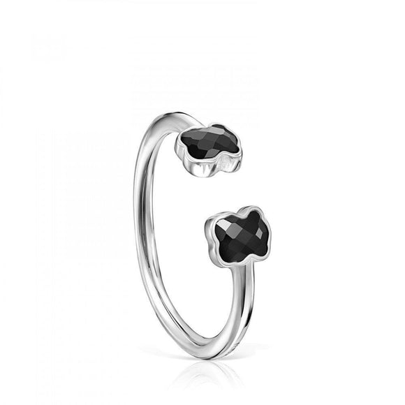 Tous Mini Onix open Ring in Silver with Onyx 918455510
