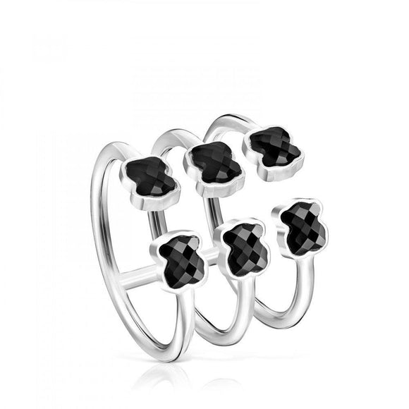 Tous Mini Color triple Ring in Silver with Onyx 918455520