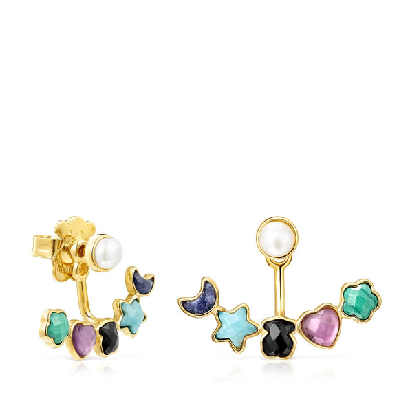 Tous Short Glory Earrings in Gold Vermeil with Gemstones 918593590