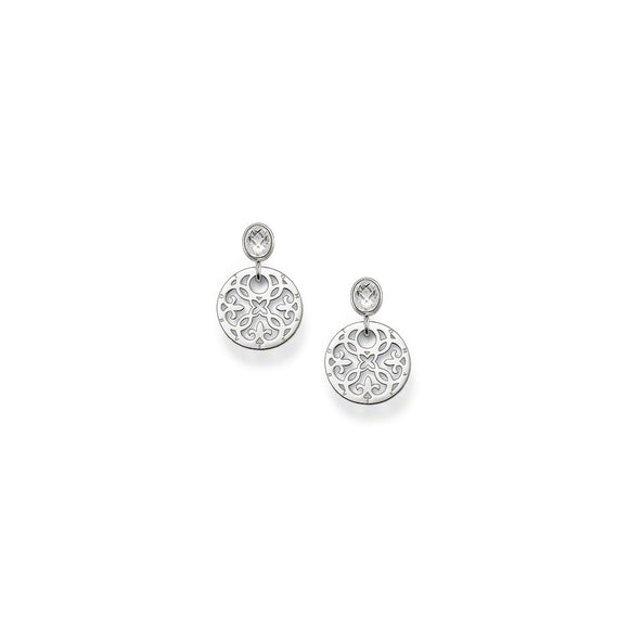 Thomas Sabo Silver Arabesque Disc Drop Earrings H1779-051-14