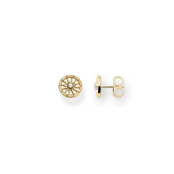 Thomas Sabo Yellow Gold Plated Sun Disc Earrings H1800-414-14