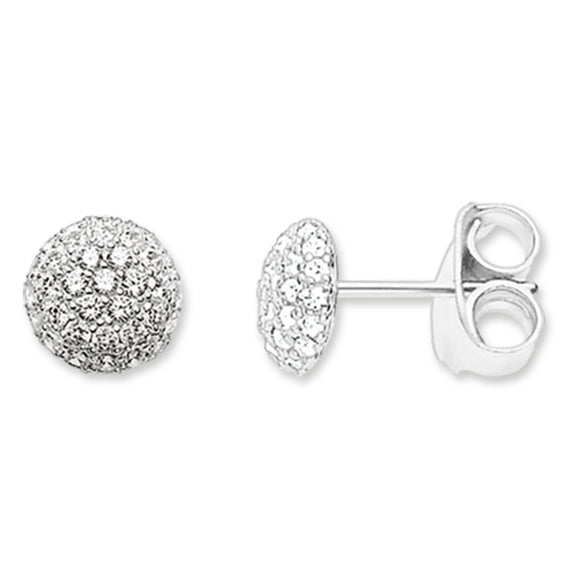 Thomas Sabo Silver Clear Cubic Zirconia Pave Dome Studs H1810-051-14