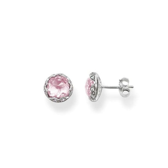 Thomas Sabo Pink Corundum Purity of Lotos Ear Studs H1828-640-9