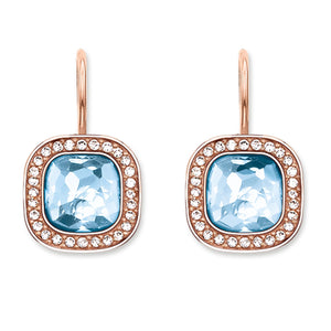 Thomas Sabo Rose Gold Plated Blue Cubic Zirconia Dropper Earrings H1830-635-1