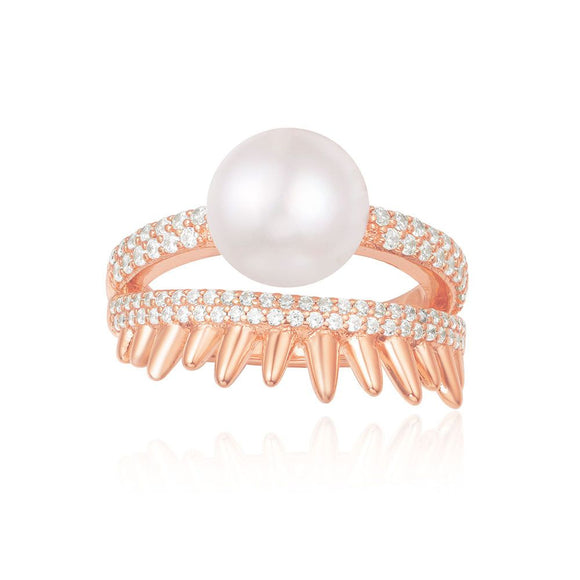 APM Pink Silver 'Spike' Ring With Pearl R17108XPL