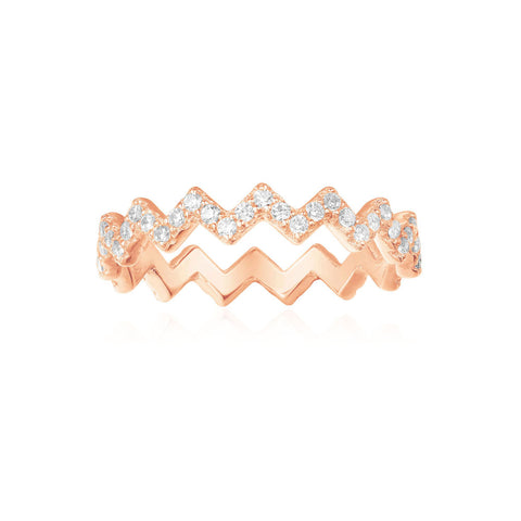 APM Pink Silver Up And Down Ring R17931OX