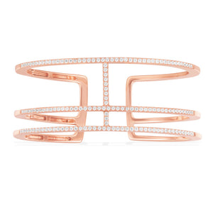 APM Triple Line Paved Open Cuff - Pink Silver RB3488OX
