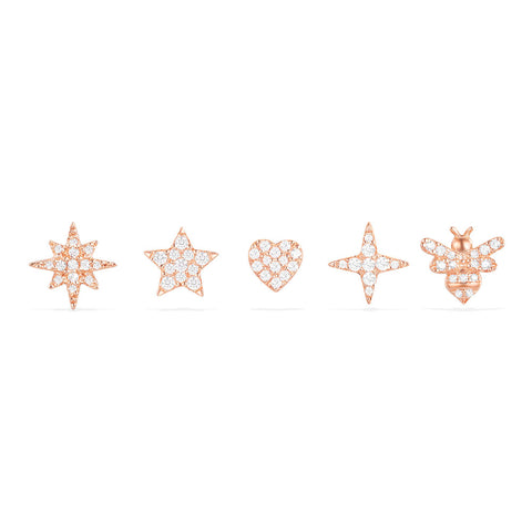 APM PINK SILVER STUD EARRINGS SET   RE10733OX