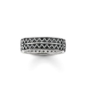 Thomas Sabo Unisex Ring Band Black Zig Zag TR2051-643-11