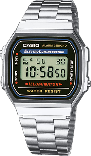 Casio Men's Casual Classic Illuminator Digital Bracelet Watch A168WA-1WCR