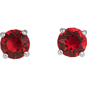Swarovski Attract Stud Pierced Earrings, Red, Rhodium Plated 5493979