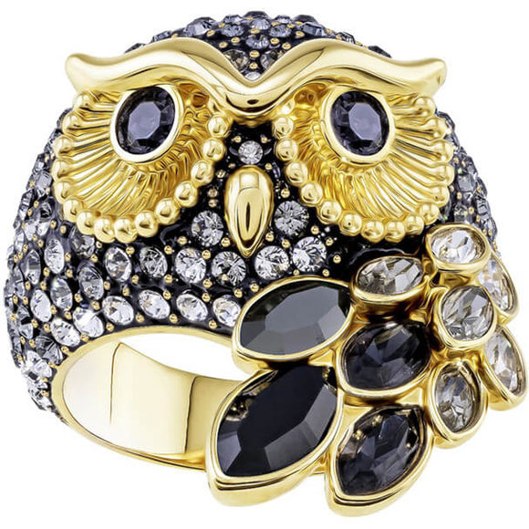 Swarovski March Owl Motif Ring, Multi-colored, Gold Plating 5410399
