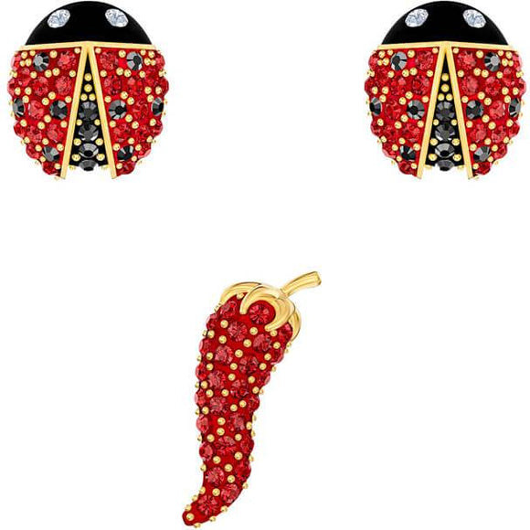 Swarovski Lisabel Pierced Earrings Set, Red, Gold-tone Plated 5498791