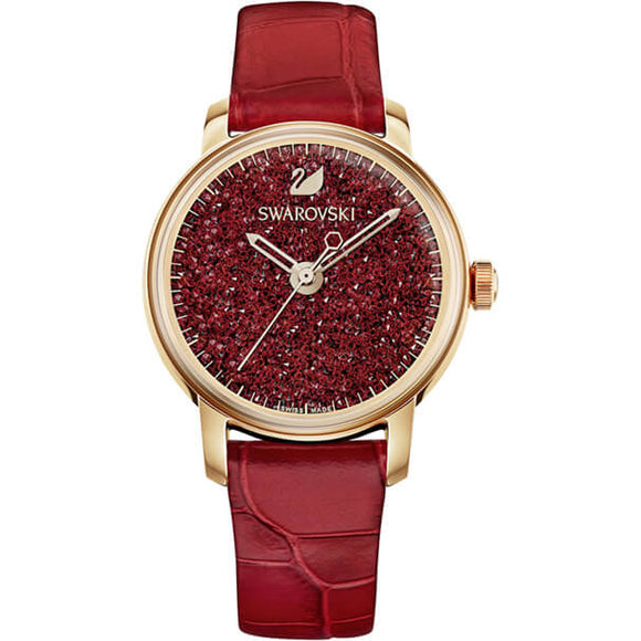 Swarovski Crystalline Hours Watch, Leather Strap, Red, Rose Gold Tone 5295380